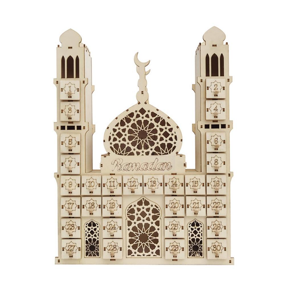 Countdown Battery Operated Muslim DIY Palace EIDMUBARAK RAMADAN Office Date Ornament Gift Led Wooden Calendar Crafts Home Decor