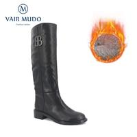 VAIR MUDO Winter Genuine Leather Women Knee High Boots Round Toe Zip Footwear Low Heels Female Motorcycle Boot Shoes Woman ZT20
