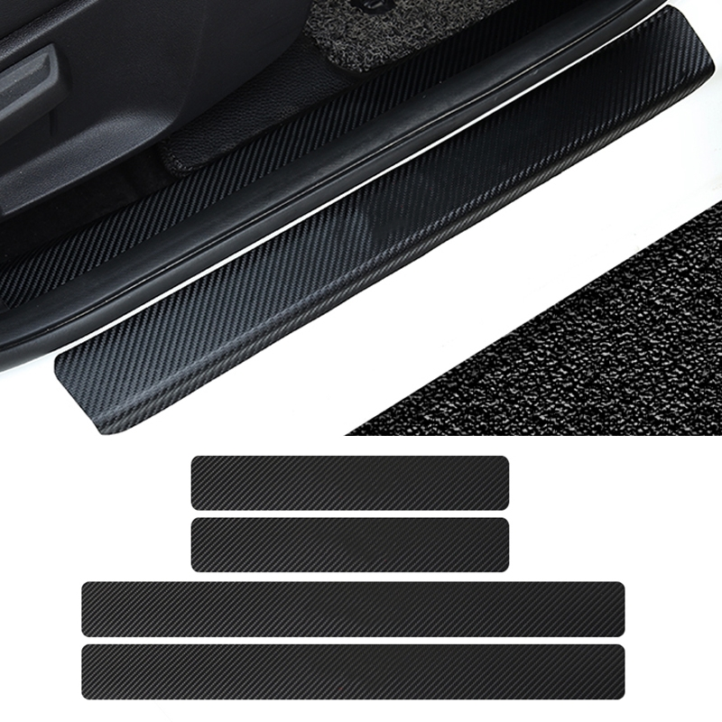 4Pcs Car Door Plate Carbon Fiber Anti Scratch Stickers For Toyota Corolla Seat Leon Jeep Fiat Skoda Fabia Rapid Renault Duster