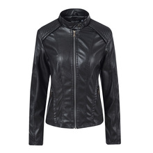Liva girl 2019 Brand Womens Leather Jacket Motorcycle Black PU Short Length Slim Faux Coats New Arrival