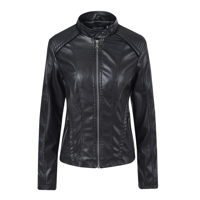 Liva girl 2019 Brand Women's   Leather   Jacket Motorcycle Black PU   Leather   Jacket Short Length Slim Faux   Leather   Coats New Arrival