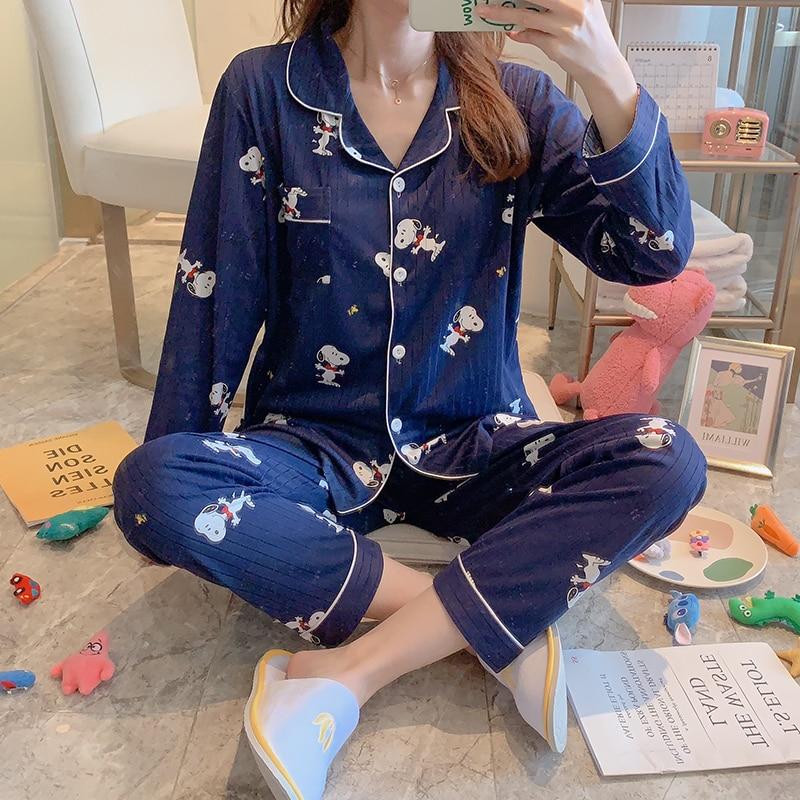Cartoon Snoopy Patterned Pajama Sets For Women Spring Autumn Long Sleeve Trousers Lapel Pyjamas Female Casual Pijama Sleepwear