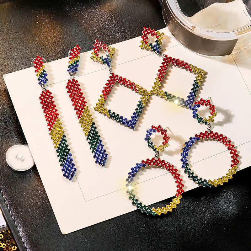 Handmade Round Multicolored Crystal Women Big Rhinestone Rainbow 2019 New Mixed Stones Statement Drop Dangle Earrings For Women in Drop Earrings from Jewelry Accessories