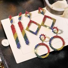 Handmade Round Multicolored Crystal Women Big Rhinestone Rainbow 2019 New Mixed Stones Statement Drop Dangle Earrings For