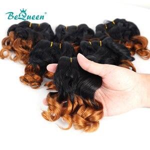 BeQueen 6 шт./лот, вьющиеся волосы, пучки, 100% человеческие волосы для наращивания, 8, 10, 12 дюймов, бразильские волосы, плетение, пучки, 1B/27 волос
