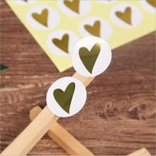 Autocollant de sceau de cœur doré blanc, étiquette de paquet de cuisson ronde, produits faits à la main, décoration DIY bricolage, 160 pièces