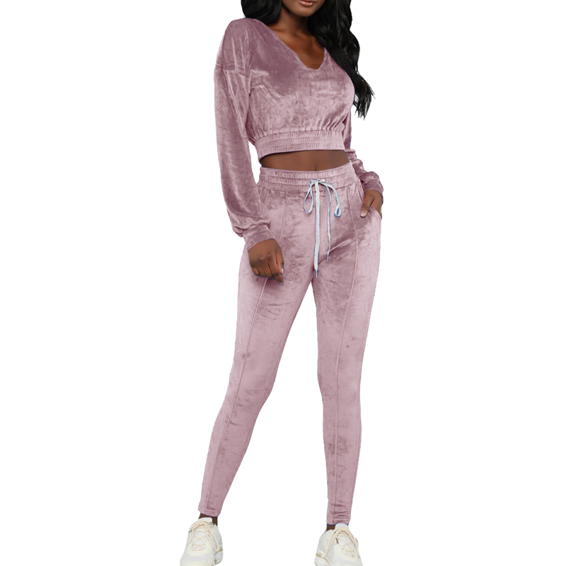 2019 Women 39 s Fashion Tracksuits Sets Casual Sporting Autumn Long Sleeves Sexy Suits Solid Color Crop Tops 2 Pieces Outfits Sets in Women 39 s Sets from Women 39 s Clothing