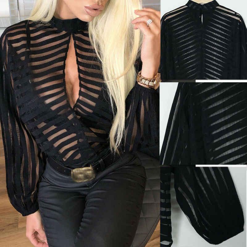 Женская сетчатая блузка в сетку, Прозрачная женская рубашка с длинным рукавом, черные открытые сексуальные топы спереди, женская одежда, летние женские блузки, хит продаж