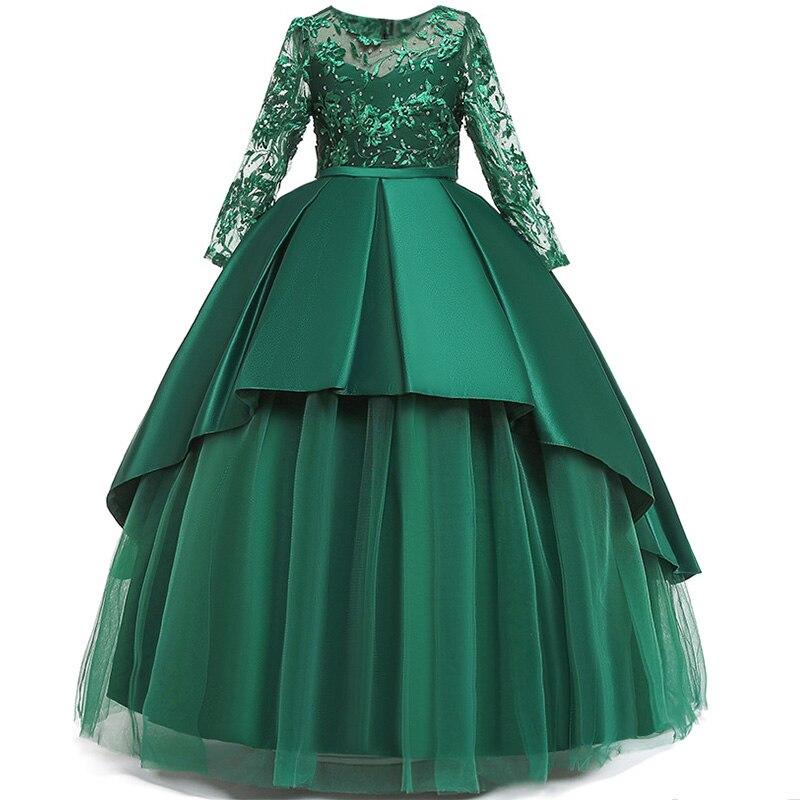 Пышные платья для девочек; платье для первого причастия; детское платье для свадебной вечеринки; платье для дня рождения; кружевные вечерние платья с лепестками для девочек; длинное платье для торжеств - Цвет: green