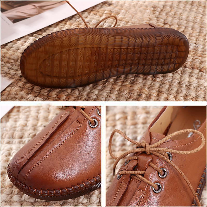 Image 5 - GKTINOO 2020 Spring Autumn Handmade Genuine Leather Flat Casual Shoes Woman Low Heel 2.5cm Soft Bottom Lace Up Female Shoes FlatWomens Flats   -