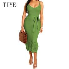 TIYE Summer Elegant Bodycon Bandage Pencil Dress Sexy Sleeveless Hollow Out Crochet Knited Slim Women Casual Sundress
