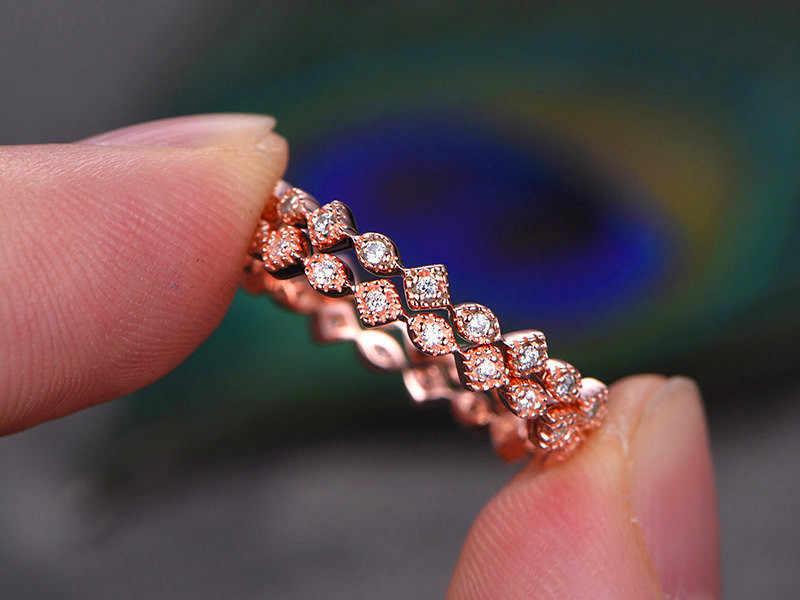 ผู้หญิง Minimalist รูปไข่ Zircon แหวนโรแมนติก Rose Gold สีหมั้นแหวน Elegant แหวนแต่งงานสำหรับผู้หญิง
