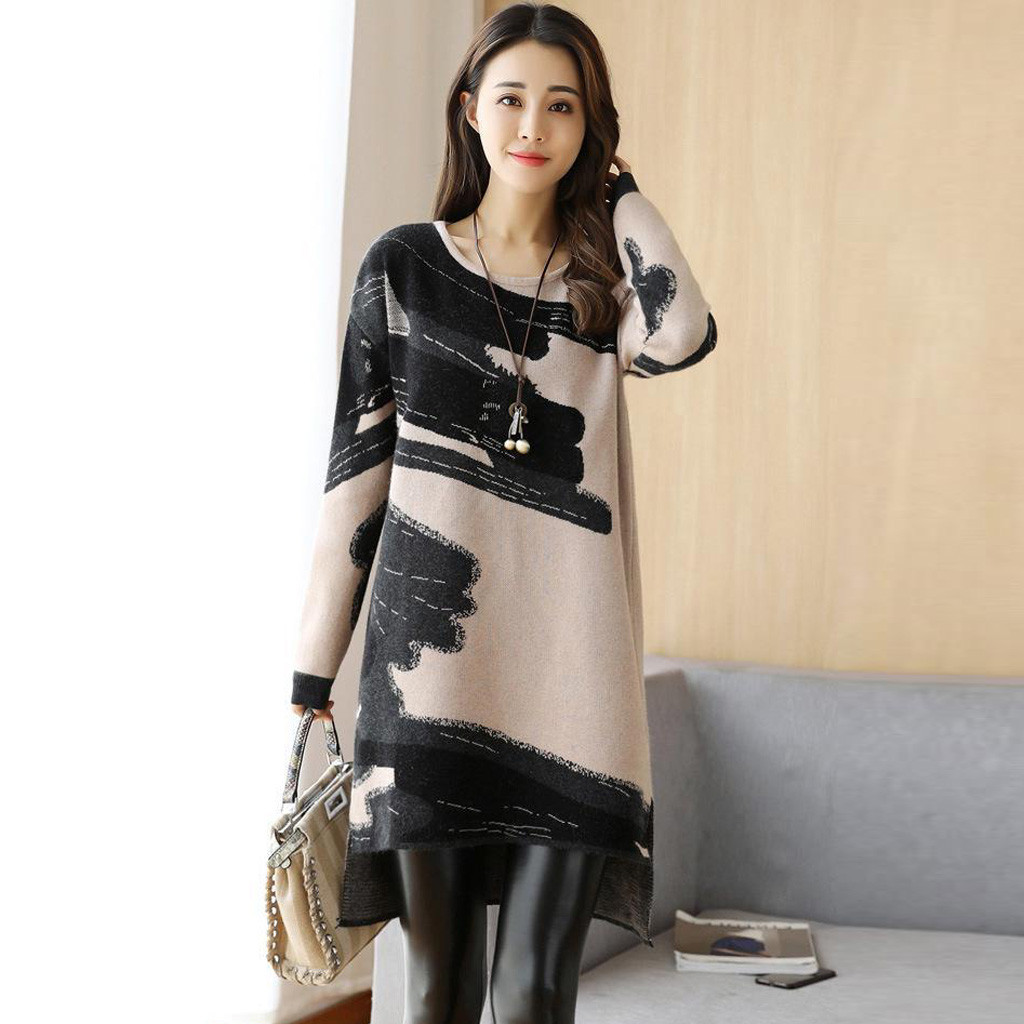2019 Women Autumn Winter Dress Fashion Korean Loose Dress Knitted Long Sleeve Sweater Dresses Japanese Korean Style Dress
