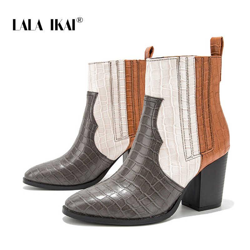 LALA IKAI Kadınlar Kış Karışık Renkler yarım çizmeler Kadın Kare Topuklu Ayakkabılar Slip-on Pu Deri Orta Topuklu Chelsea Çizmeler XWC4051-4