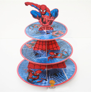 1Pc 3-tier Super Hero Spiderman Cupcake Holder Cake Stand Holder Cupcakes Theme Party for Kids Boy Girl Birthday Decoration(China)