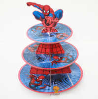 1Pc 3-tier Super Hero Spiderman Cupcake Holder Cake Stand Holder Cupcakes Theme Party for Kids Boy Girl Birthday Decoration