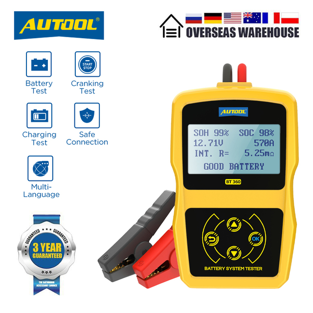 Autool BT360 Auto Batterij Tester 12 V Batterij Diagnostische Test Digitale Automotive Multi Taal 12 Volt Batterij Analyzer Voor auto