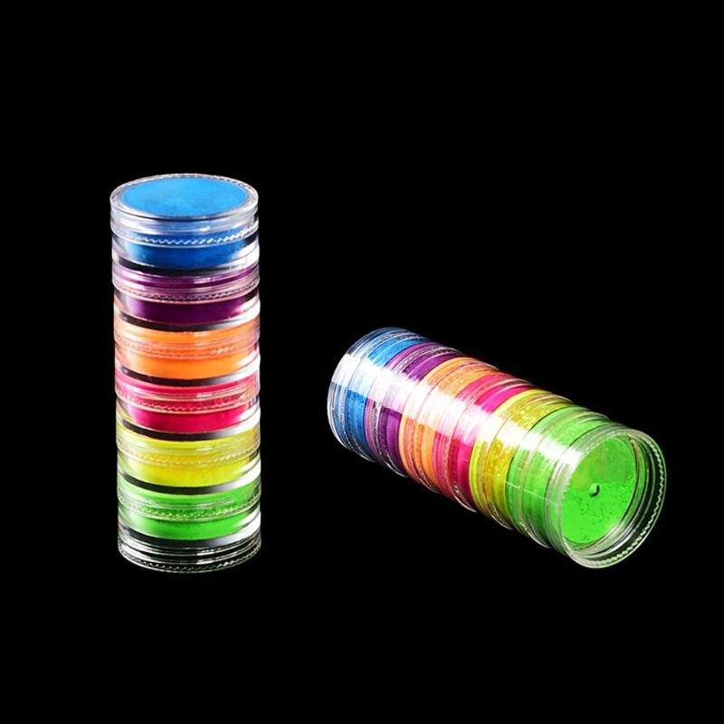 6Pcs Fluorescent UV Pigment Powder Black Light Reactive Luminous Makeup Nail Art Resin Pigment Kit Jewerly Making Tools