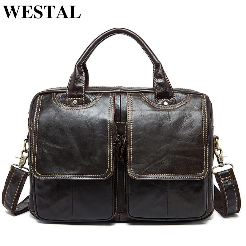 WESTAL Office Bag For Men Briefcases Genuine Leather Laptop Bag For Document Men's Bags Lawyer Work Bags Leather Briefcases 8002