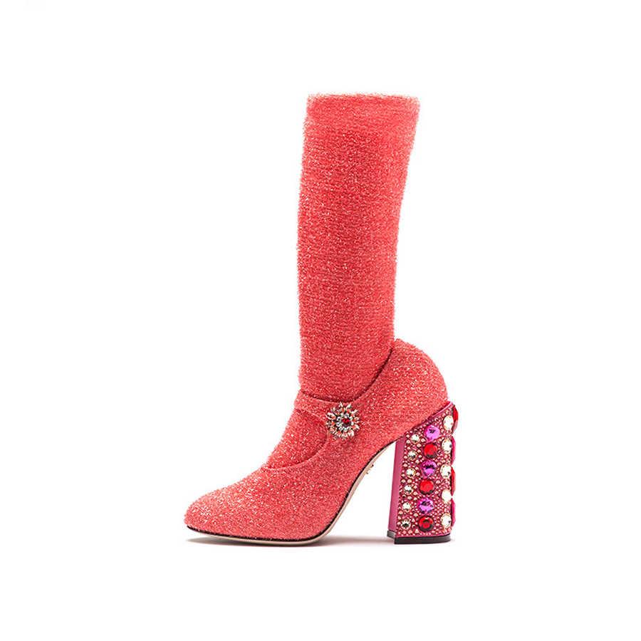 Prova Perfetto renkli kristal dekor kare topuk orta buzağı çizmeler kadın yuvarlak ayak streç çorap bayanlar parti düğün ayakkabı