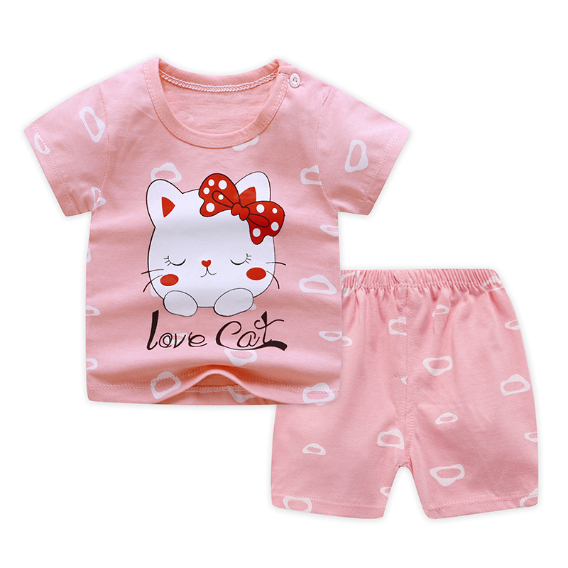 2020 Baby Girl Clothes Minnie Kitty Style Newborn Girl Infant Summer Clothing Suit Baby 0-3 Outfit