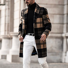 men's coats autumn casual Mid-long woolen cloth coat man Slim fashion Streetwear Plaid trench coat men 2020