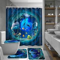 Meigar oceano golfinho mar profundo poliéster cortina de chuveiro banheiro à prova dwaterproof água com ganchos pedestal tapete tampa toalete conjunto tapete banho