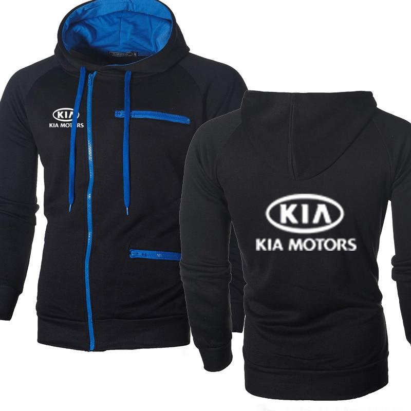 Men Hoodies KIA Car Logo Print Casual HipHop Harajuku Long Sleeve Fleece Warm Hooded Sweatshirts Mens Zipper Jacket