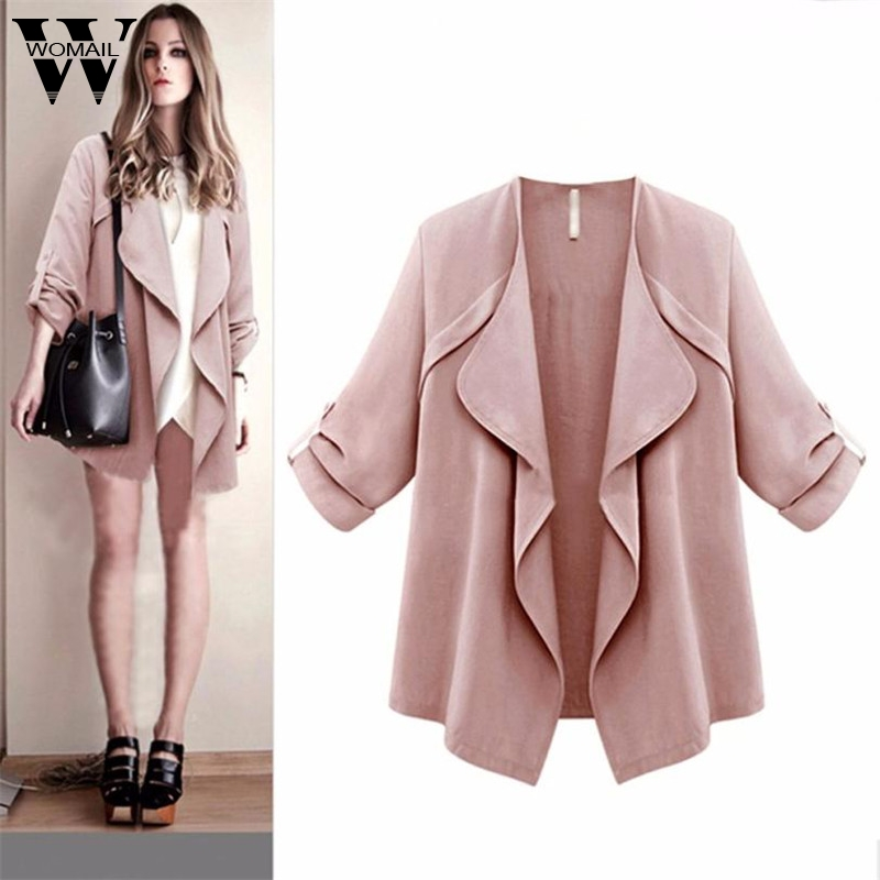 Womail Womens Coats Women Autumn Spring Solid Long Sleeve Loose Plus Full Broadcloth Coat women 2020 2XL-5XL