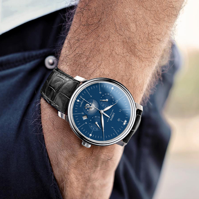 Luxury Brand Switzerland LOBINNI Men Watches Perpetual Calender Auto Mechanical Men's Clock Sapphire Leather relogio L15008-9 5