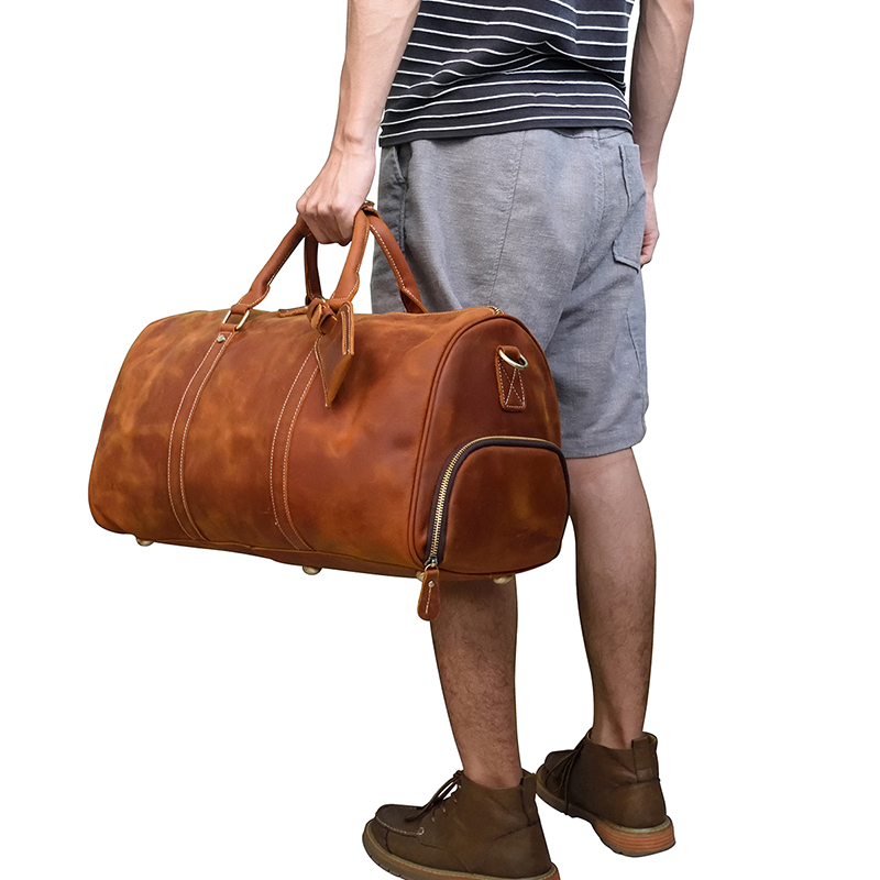 Men Travel Bag Vintage Crazy Horse Genuine Leather 18 inch Big Travel Duffel Cow Leather Boston Business Luggage Weekend Bag