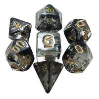 7pcs/set Translucent Black Dice Set Polyhedral Dices with Bag For RPG Dungeons Dragons Board Games
