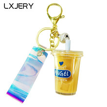LXJERY 4 Colors Creative Milk Tea Box Keychain Bag Pendant Moving Liquid Keyrings Decompression Drift Bottle Toys Kids Gifts(China)