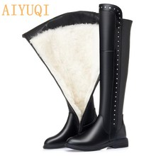 High-Boots Womens Genuine-Leather Knee Plus-Size Wool AIYUQI Winter Warm New