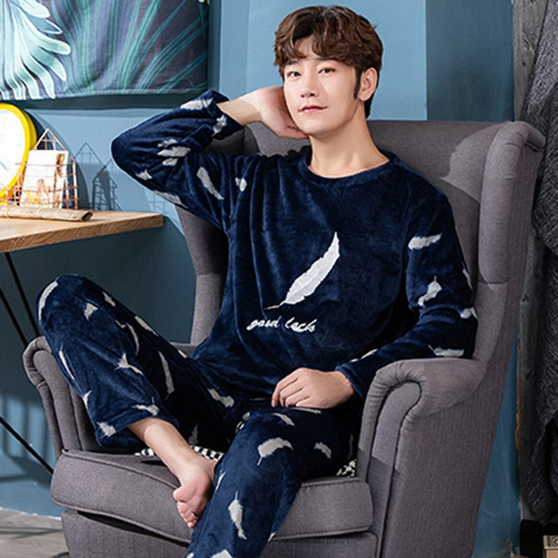 Christmas Pijamas Men Winter Thick Warm Flannel Mens Pajama Set Long Sleeve Coral Velvet Sleepwear Suit Loungewear Home Clothes