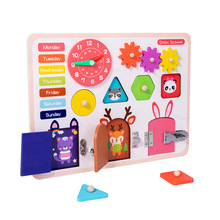 Busy Board Montessori Educational Wooden Toys Children Hand Training Locks Latch Time Shape Animal Cognition Busy Boards Games