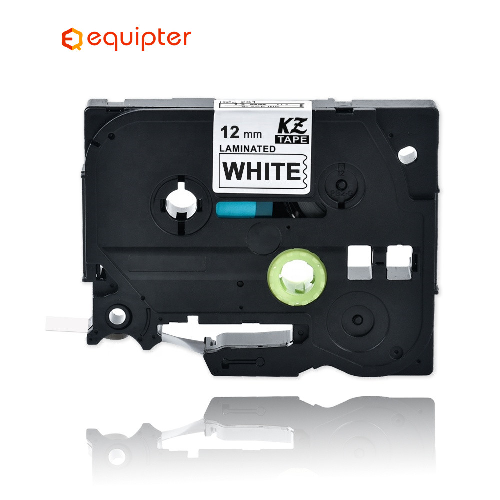 Black on White Labe Tape TZ TZe-231 P-touch Compatible Brother Laminated 12mm