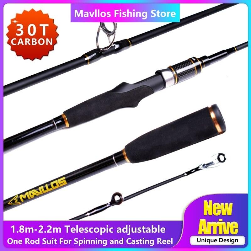 Mavllos Rápida Ajustável 2.2m Vara De Pesca Telescópica Fundição Fiação Universal L.W. 5-21g 30T Fiação De Carbono Vara De Pesca Pólo