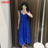 Tangada Women Blue Embroidery Romantic Midi Dress Strap Ruffles Sleeveless 2021 Fashion Lady Elegant Dresses Vestido 6H19 2