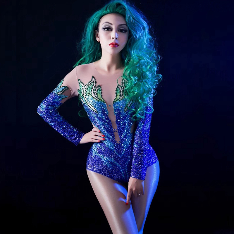 Sexy Stage Women Net Yarn Bodysuit Full Colors Sparkly Rhinestone Jumpsuit Celebrate Nightclub Party Singer Dancer Stage Wear