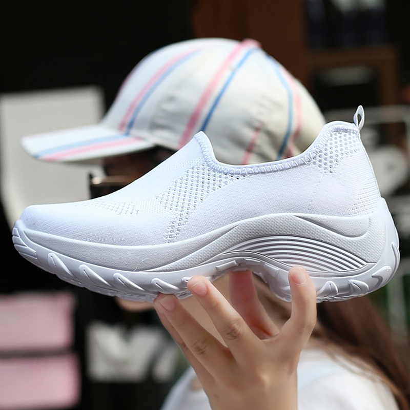 Women's Sports Shoes Casual Fashion Breathable Sock Sneaker Woman Sahllow Solid Wedges Platform Shoes For Women