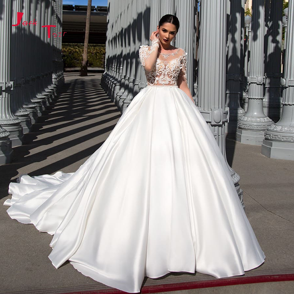 Gorgeous Best France Satin Ball Gown Wedding Dress Vestidos De Novia Full Beading Crystal Flowers Long Sleeve Sexy Wedding Gowns