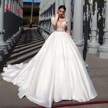Lindo vestido de casamento frança, de cetim, de manga longa, sexy, com contas em cristal, flores