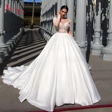 رائع أفضل فرنسا الساتان الكرة ثوب الزفاف Vestidos دي نوفيا كامل الخرز كريستال الزهور كم طويل مثير فساتين الزفاف