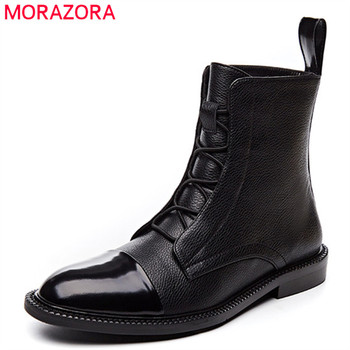 MORAZORA 2020 high quality genuine leather ankle boots for women round toe autumn winter flat shoes ladies Motorcycle Boots
