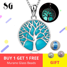 цены Designer jewelry 925 Sterling silver glowing tree of life pendant chain necklace with blue enamel making for Valentine gift
