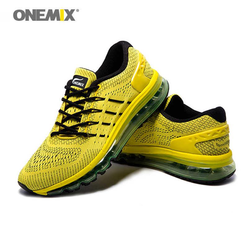 ONEMIX męskie buty biegowe z poduszkami powietrznymi lekkie dzianiny trenerzy projektant oddychający masaż trampki człowiek Jogging Sport na obuwie outdoorowe
