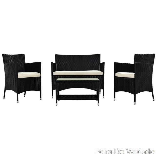 4 PCS  Garden Conversation Wicker Sofa Set 6