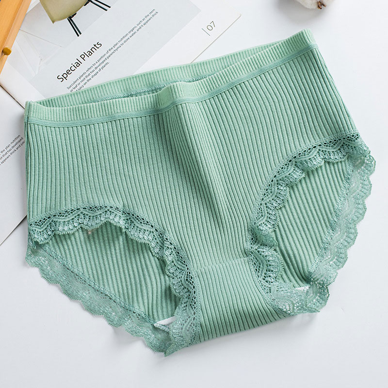 Student Casual High Quality Women Panties Bowknot Lace Briefs Solid Color Low-rise Underpants Pure Cotton Small Fresh Underwear
