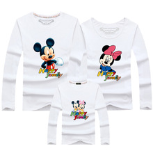 3 pieces/set Cartoon Mickey Mouse shirt Father Mom Children Men shirts Long Sleeve Autumn (Tell me the and kids size)